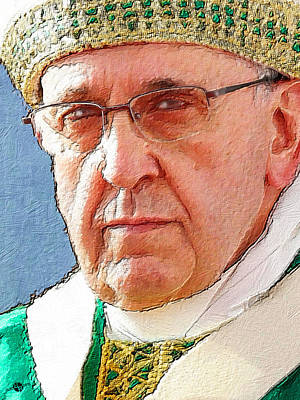 Painting - Pope Francis Acrylic Portrait 2 by Tony Rubino