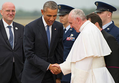 Pope Francis And President Obama Print by Mountain Dreams
