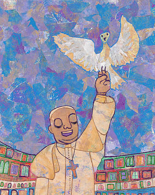 Pope Francis And The Dove  Original by Carol Cole
