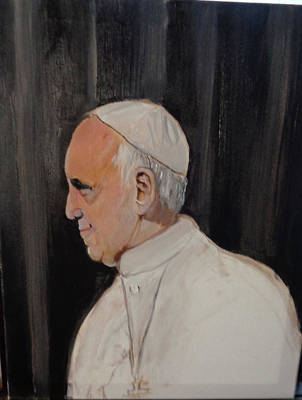 Painting - Pope Francis by Arlen Avernian Thorensen