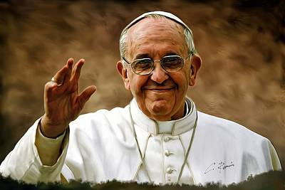 Digital Art - Pope Francis by Charlie Roman