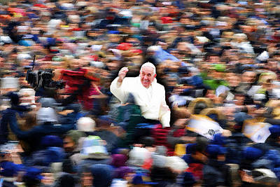 Painting - Pope Francis In Crowd Of Faithful Acrylic 1 by Tony Rubino