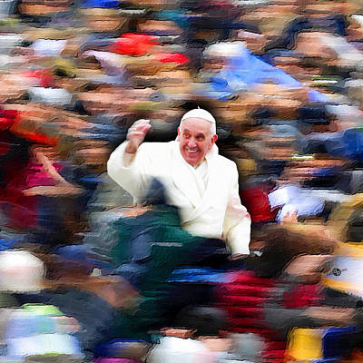 Painting - Pope Francis In Crowd Of Faithful Acrylic 3 by Tony Rubino