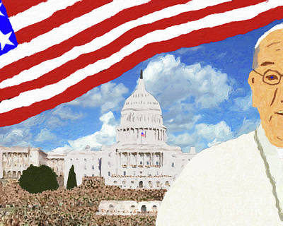 Us Capital Painting - Pope Francis In Us Capital by Le Artman