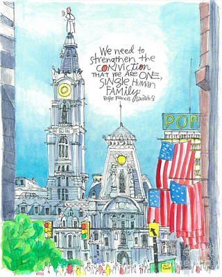 Painting - Pope Francis - Philly City Hall - Mmppc by Br Mickey McGrath OSFS