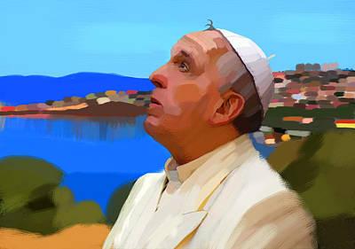 Pope Francis Visiting Island Lesbos Original by Maciej Mackiewicz