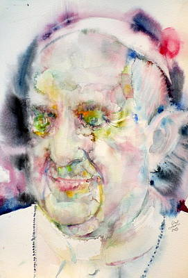 Pope Francis - Watercolor Portrait.5 Art Print by Fabrizio Cassetta