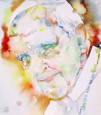 Pope Francis - Watercolor Portrait.6 Art Print by Fabrizio Cassetta