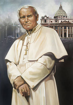 Jhon Painting - Pope John Paul II by Ron Di Scenza
