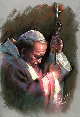 Celebrity Portrait Wall Art - Pastel - Pope John Paul II by Ylli Haruni