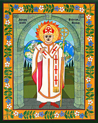 Orthodox Icon Mixed Media - Pope John Xxiii Icon by David Raber