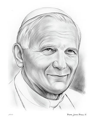 Vatican Drawing - Pope Saint John Paul II by Greg Joens