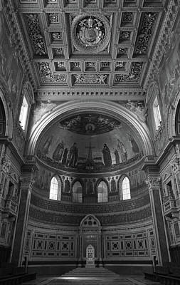 Photograph - Popes Chair And Ceiling Inside St John Lateran In Rome Italy Black And White by Shawn O'Brien
