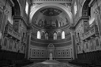 Photograph - Popes Chair Inside St John Lateran In Rome Italy Black And White by Shawn O'Brien