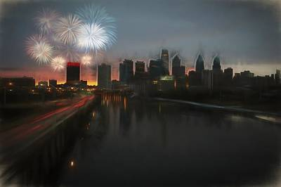 Photograph - Pope's Philly Fireworks Two by Alice Gipson