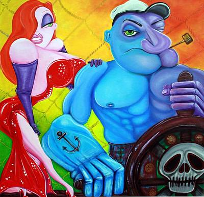 Film Noir Painting - Popeye And Jessica Rabbit by Laura Barbosa