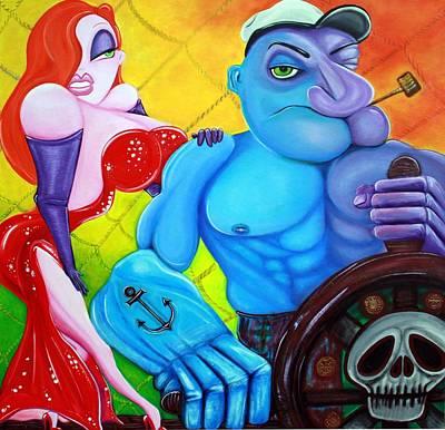 Jessica Rabbit Painting - Popeye And Jessica Rabbit by Laura Barbosa