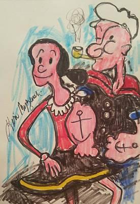 Popeye And Olive Ole Art Print by Geraldine Myszenski