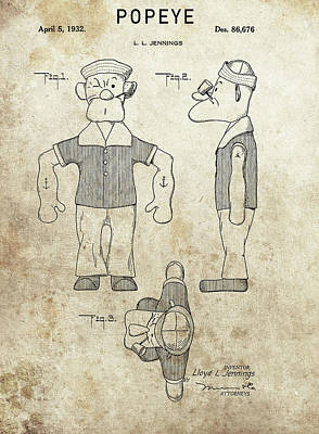 Drawing - Popeye Patent Design by Dan Sproul
