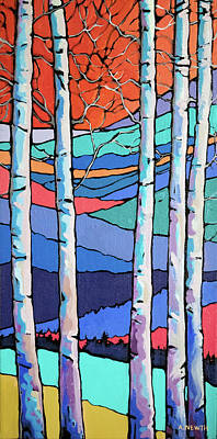 Wall Art - Painting - Poplars In Fall  by Alison Newth