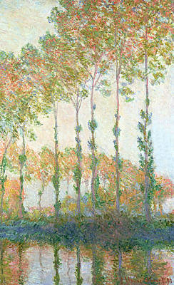 Monet Painting - Poplars On The Banks Of The Epte In Autumn by Claude Monet