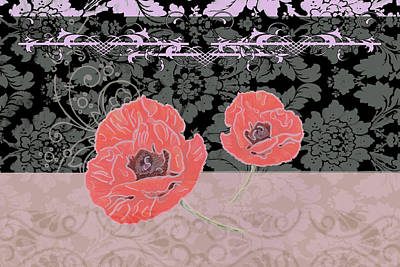 Olive Mixed Media - Poppies 2 by Priscilla Huber