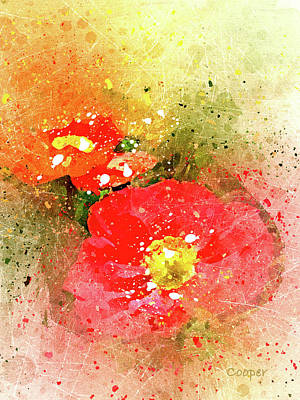 Digital Art - Poppies 5 S by Peggy Cooper
