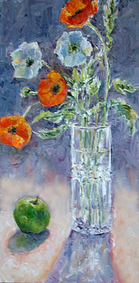 Painting - Poppies And A Granny Smith by Jill Musser