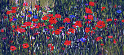 Digital Art - Poppies And Bachelor Buttons by Bonnie Willis
