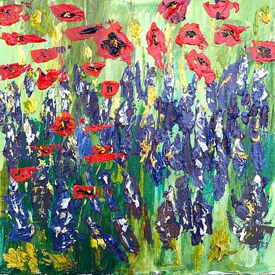 Plein Air Painting - Poppies And Bluebonnets In Fredricksburg by Julene Franki