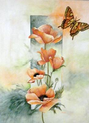 Poppies And Butterfly Art Print by Marti Idlet