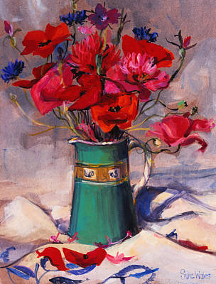 Pinks And Purple Petals Painting - Poppies And Cornflowers In Green Jug by Sue Wales