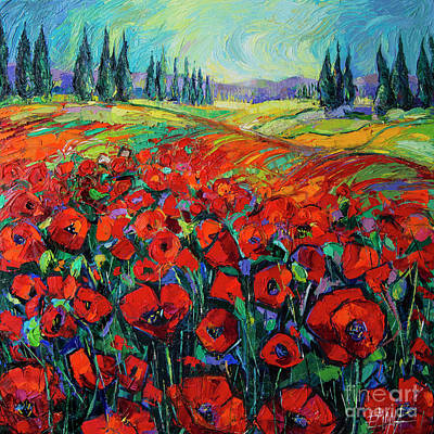 Painting - Poppies And Cypresses - Modern Impressionist Palette Knives Oil Painting by Mona Edulesco