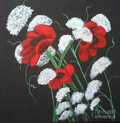 Painting - Poppies And Lace by Ginny Youngblood