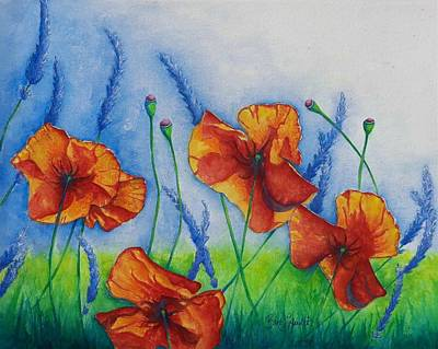 Painting - Poppies And Lavender by Barb Toland