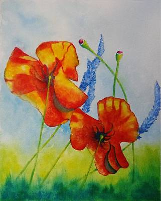 Painting - Poppies And Lavender Take 2 by Barb Toland