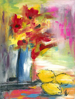 Poppies And Lemons With Blue Vase Art Print by Valorie Hillerich