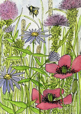 Painting - Poppies And Wildflowers by Laurie Rohner