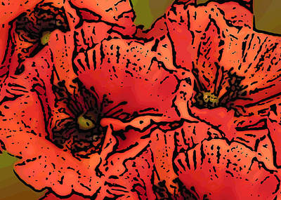 Mixed Media - Poppies by Ann Tracy