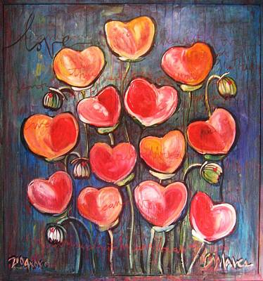 Painting - Poppies Are Hearts Of Love We Can Give Away by Laurie Maves ART