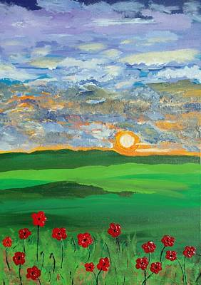 Painting - Poppies At Sunset by Daniel Nadeau