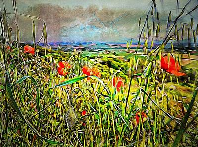 Digital Art - Poppies Awaiting The Storm by Dorothy Berry-Lound