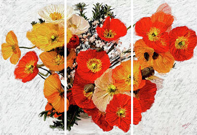 Painting - Poppies Bunch Triptych by James Shepherd