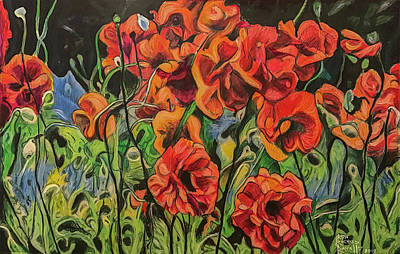 Painting - Poppies Grew On Ernie Lane by Ron Richard Baviello