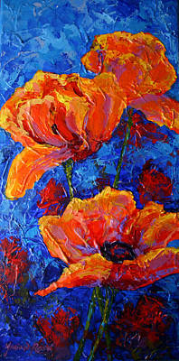 Red Poppy Painting - Poppies II by Marion Rose