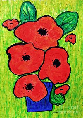 Abstract Flowers Drawings - Poppies in a Blue Vase by Sarah Loft