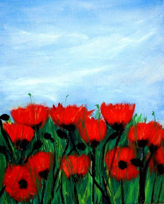 Painting - Poppies In A Field by Katy Hawk