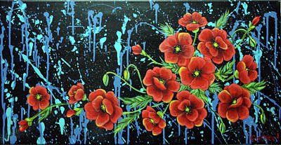 Poppies In A Modern Backgrownd Art Print by Gallery Nektarios