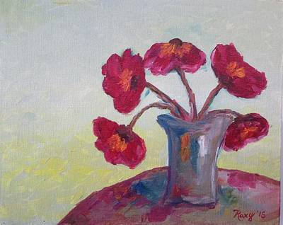 Oil Painting - Poppies In A Vase by Roxy Rich
