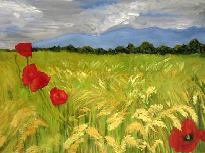 Painting - Poppies In A Wheat Field by Vivian Stearns-Kohler